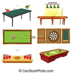 brincando, diferente, tabela, conceito, equipamento, jogos