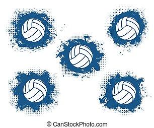 brincando, voleibol, equipamento, jogo, balls., desporto