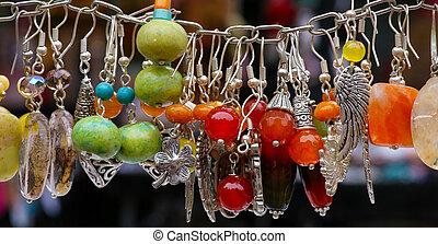 brincos, pedra, pendentes, coloridos
