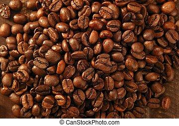 brindado, coffe, feijões, textura