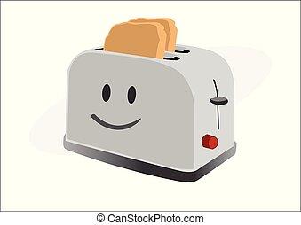 brindado, smiley, torradeira, pão