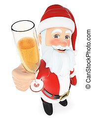 brindar, claus, vidro, santa, champanhe, 3d