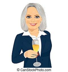 brindar, sucedido, executiva, vidro, sorrindo, champanhe, sênior