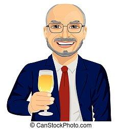 brindar, sucedido, vidro, homem negócios, sorrindo, champanhe, sênior