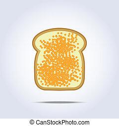 brinde, branca, ícone, caviar, pão