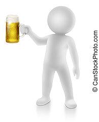 brinde, cerveja assalta, 3d, faz, homem