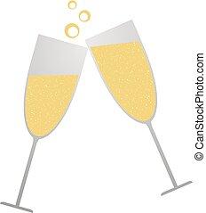 brinde, champanhe, ilustração