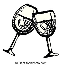 brinde, copos de vinho