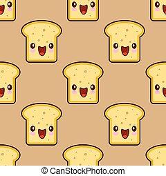 brinde, cute, apartamento, padrão, smiley, personagem, seamless, ilustração, kawaii, experiência., vetorial, desenho, pequeno almoço, caricatura, pão