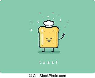 brinde, engraçado, personagem, ilustração, vetorial, pão