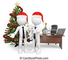 brinde, escritório, pessoas., ano, fazer, novo, branca, 3d