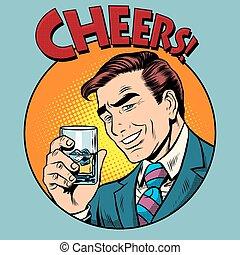 brinde, estilo, arte, estouro, alegrias, retro, homem,...