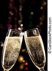 brinde, fazer, óculos champanha