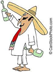 brinde, fazer, shoeless, mexicano