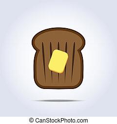 brinde, manteiga, ícone, pretas, pão