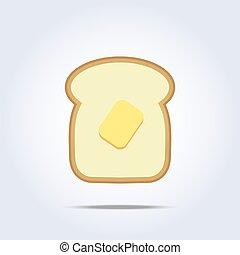 brinde, manteiga, branca, ícone, pão