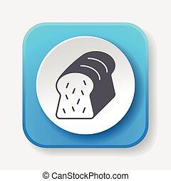 brinde, pão, ícone