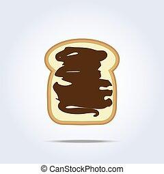 brinde, pão branco, ícone, chocolate