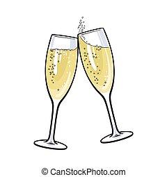 brinde, par, feriado, óculos champanha