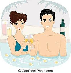 brinde, par, vinho