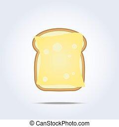 brinde, queijo, branca, ícone, pão