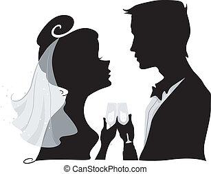 brinde, silueta, casório