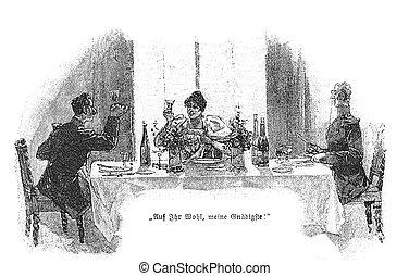 brinde, tabela, jantar