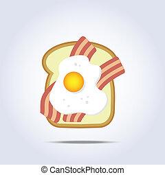 brinde, toucinho, pão branco, ovo, ícone
