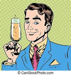 brinde, vidro champanhe, data, feriado, homem