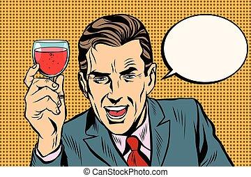 brinde, vidro, homem, vinho