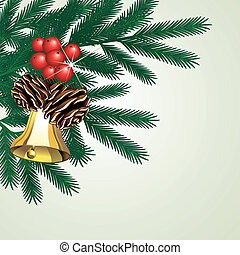 brindille, vecteur, arbre, cônes, cloche