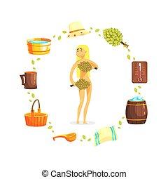 brindilles, femme relâche, spa, arbre, jeune, illustration, sauna, russe, vecteur, bain public, tas, bouleau, accessoires, girl