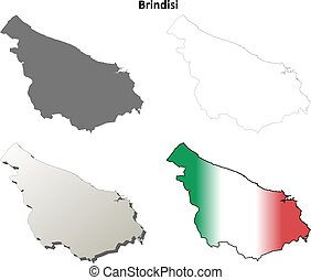 Brindisi blank detailed outline map set - Brindisi province...