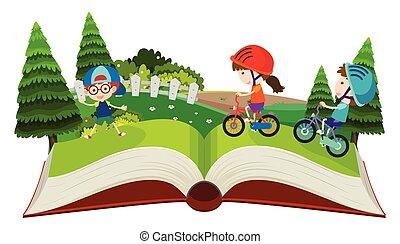 bringák, feláll, váratlanul, könyv, lovaglás, gyerekek