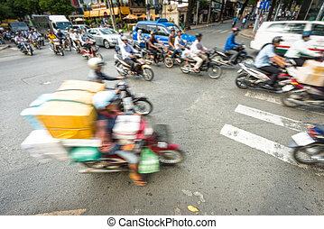 bringák, vietnam., élénk utca, folyik