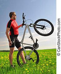 bringás, noha, a, hegy bicikli