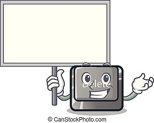 Bring board button delete isolated with the character vector illustration