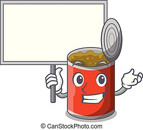 Bring board character canned food isolated on cartoon vector...