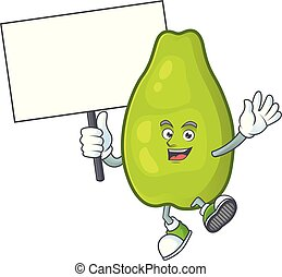 Bring board cute papaya on a white background