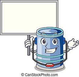 Bring board cylinder bucket Cartoon of for liquid