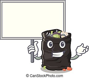 Bring board grabage bag isolated with the mascot vector illustration