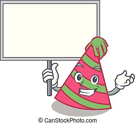 Bring board party hat character cartoon vector illustration