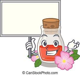 Bring board rosehip seed oil in cartoon bottle vector ...