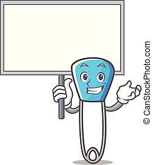 Bring board safety pin character cartoon