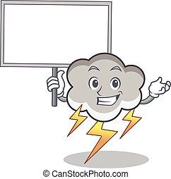 Bring board thunder cloud character cartoon vector...