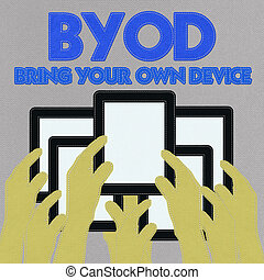 Bring Your Own Device concept with stitch style on fabric background