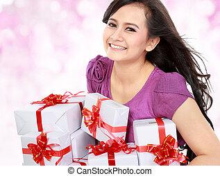 bringen, einige, teenager, geschenk, glücklich