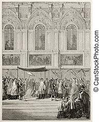 Bringing Eucharist - Pope Pious IX bringing Eucharist to...