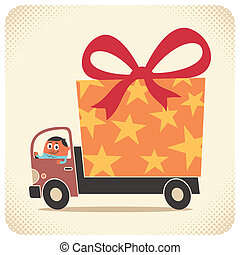 Truck driver delivers gift for birthday or some other special occasion. No transparency and gradients used.