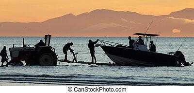 Bringing in the Catch at Sundown